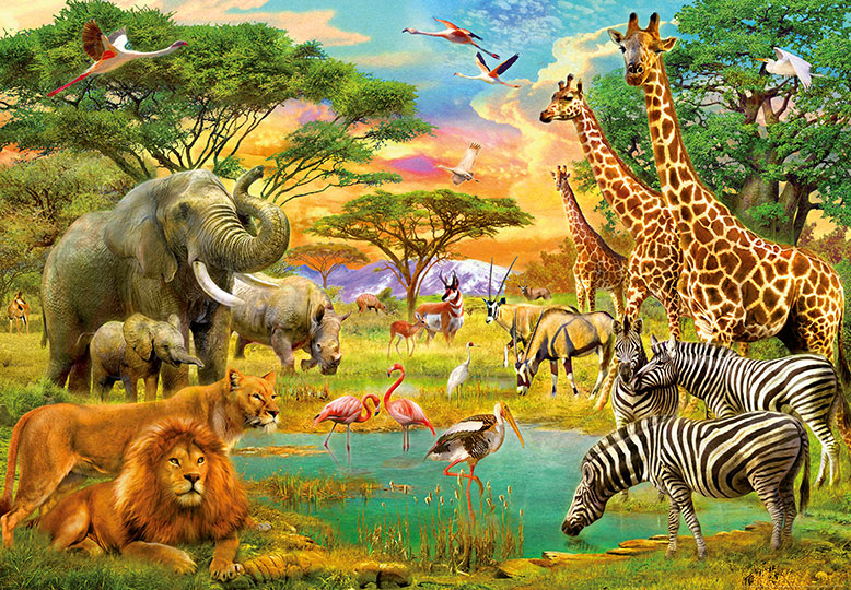 366x254cm Photo Wallpaper Wall Mural Safari Wild Animals